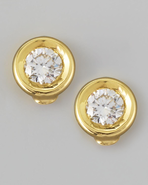 Roberto Coin 18k Yellow Gold Diamond Solitaire Stud