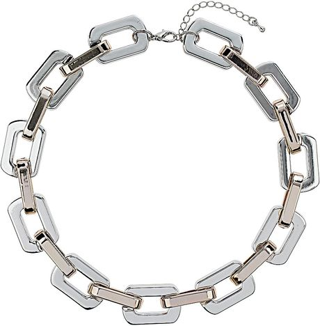 Topshop Rectangle Link Chain Necklace in Silver (Mixed