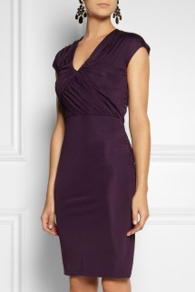 Lyst - Saloni Opal Ruched Satinjersey Dress In Purple