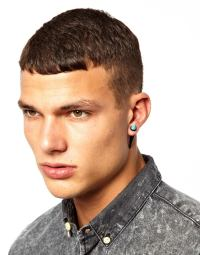 Lyst - Asos Earrings with Turquoise Spike in Metallic for Men