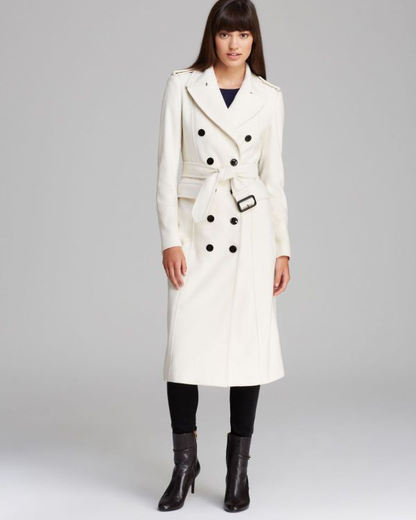 Lyst - Burberry Coat Military Wool Cashmere In White