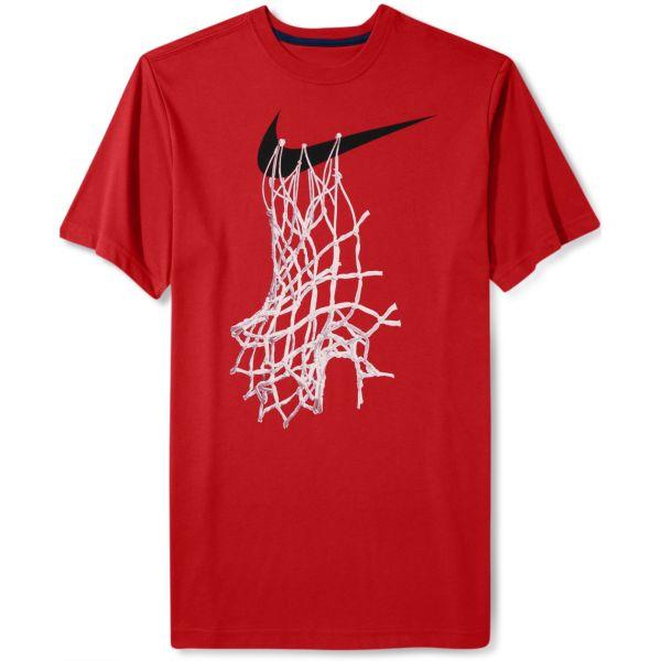 Nike Shortsleeve Graphic Basketball Net Tshirt In Red