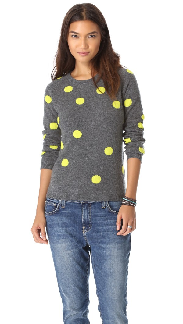 Chinti & Parker Polka Dot Cashmere Sweater In Gray Dirty