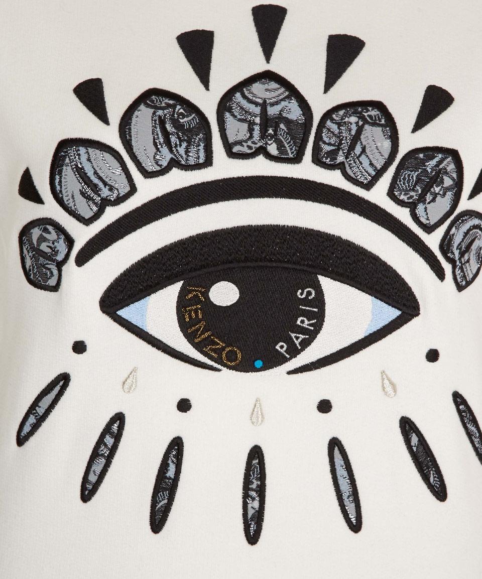 Burberry Iphone Wallpaper Lyst Kenzo White Big Eye Taped Sleeve Sweatshirt In White