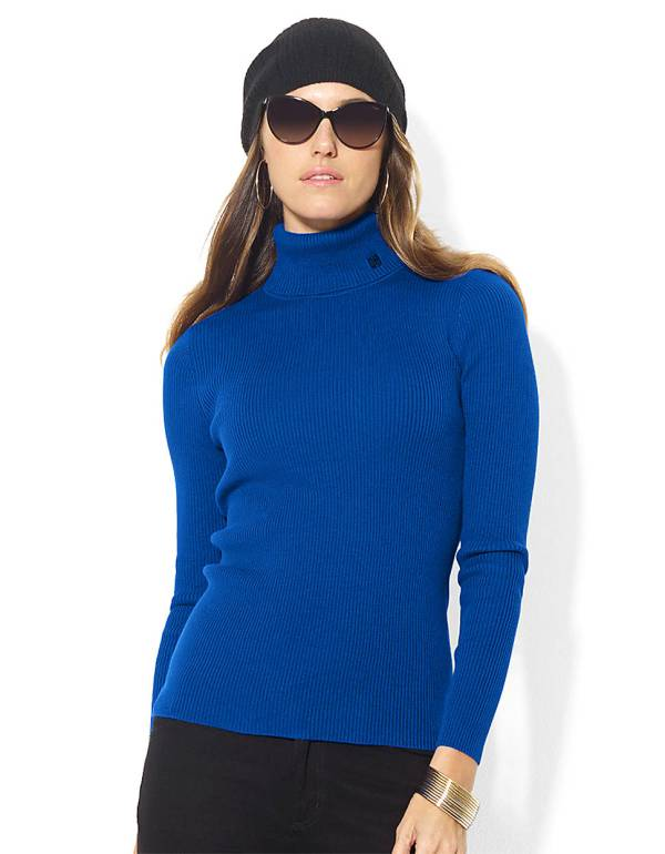 Lauren Ralph Ribbed Cotton Turtleneck In Blue Lyst