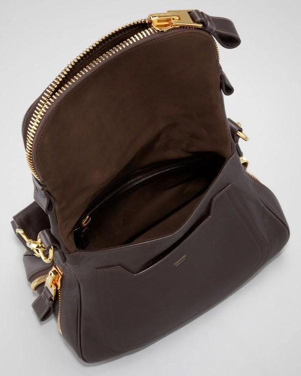 Tom Ford Jennifer Medium Zip Strap Shoulder Bag Dark Brown