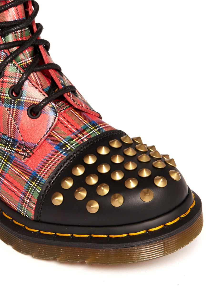 Dr martens dai Studded Tartan Boots in Red  Lyst