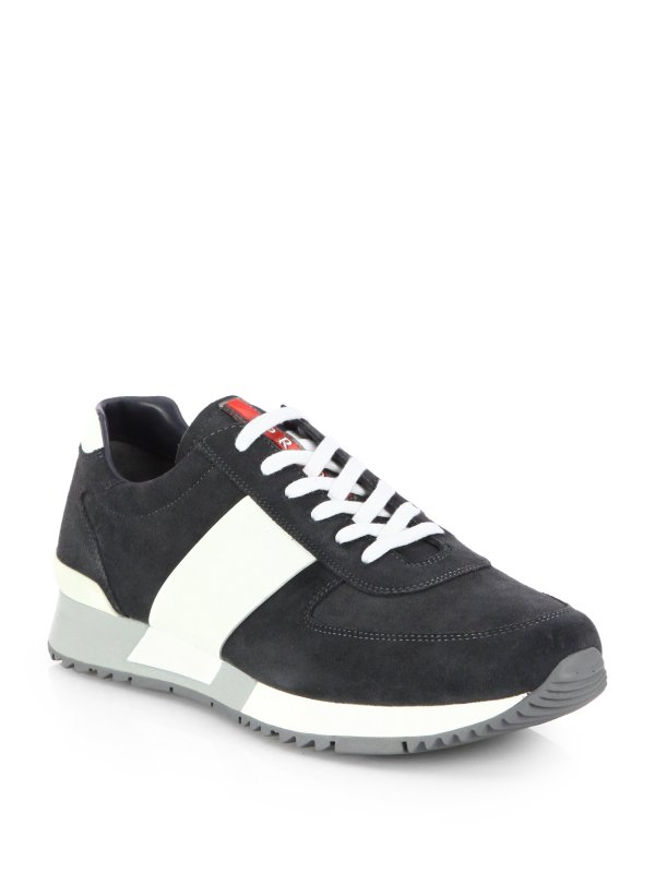 Prada Suede And Leather Laceup Sneakers In Blue Men
