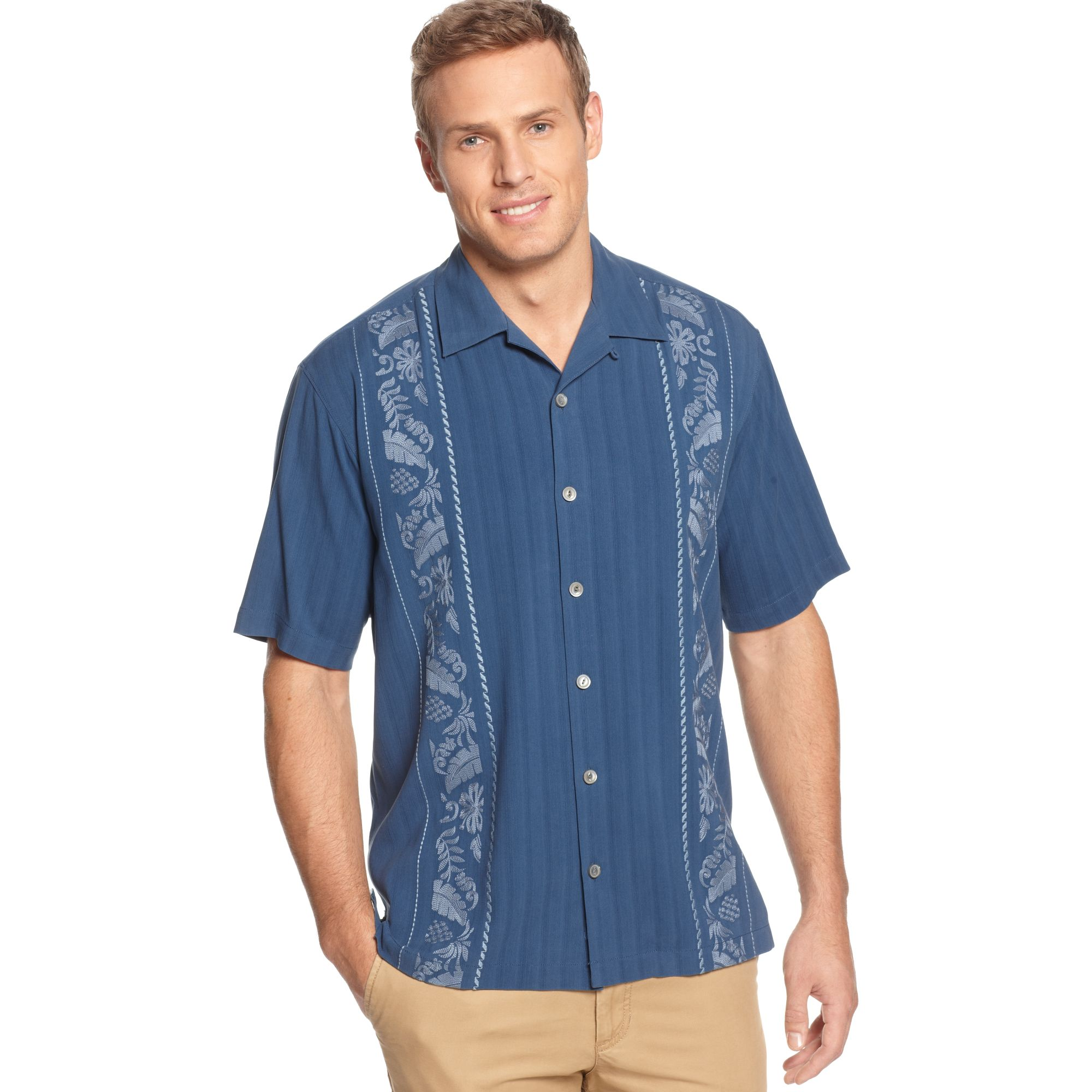 Tommy Bahama Path To Raj Silk Shirt in Blue for Men Blue