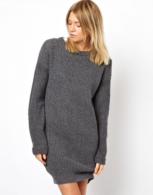 Asos Sweater Dress In Red Grey Lyst