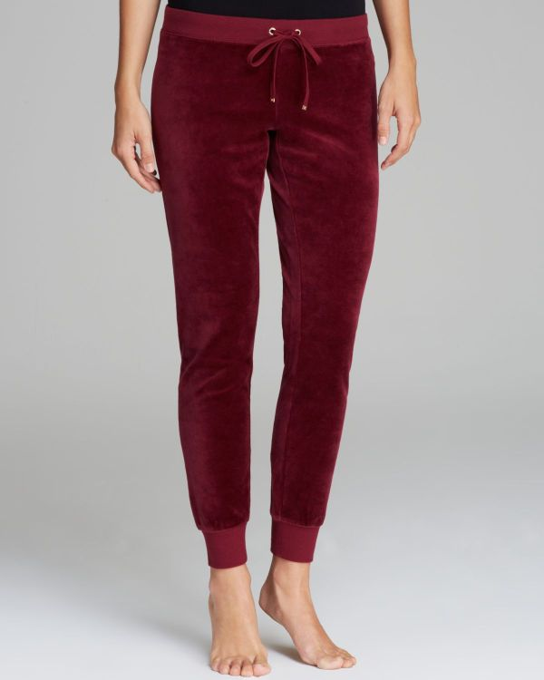 Juicy Couture Modern Track Velour Pants In Red Port Wine