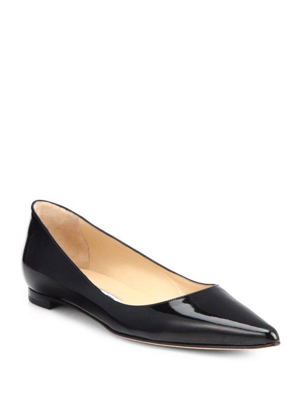 Manolo Blahnik Bb Patent Leather Ballet Flats in Black Lyst
