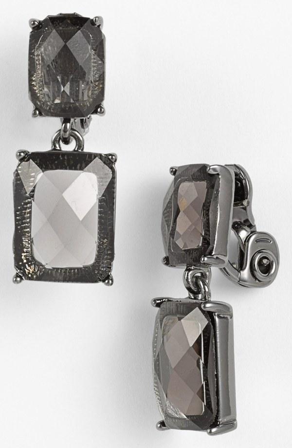 Anne Klein Double Stone Drop Clip Earrings In Black