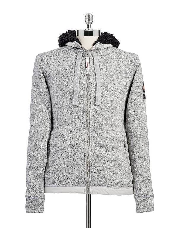 Superdry Storm Zip With Faux Fur Lined Hoodie In Gray
