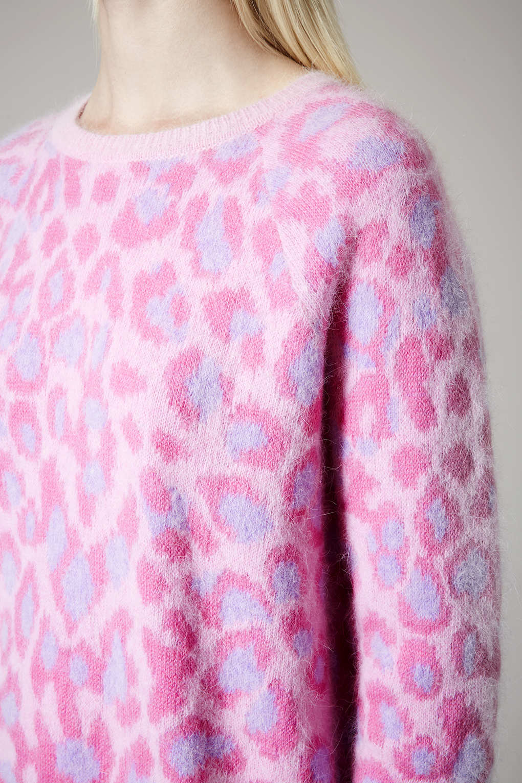Lyst  TOPSHOP Leopard Print Fluffy Angora Jumper By