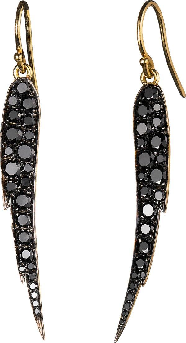 Finn Diamond Gold Angel Wing Earrings In Black Yellow Lyst