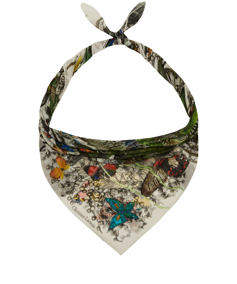 Christian Lacroix White Garden Print Silk Scarf In White