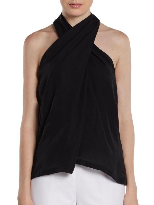 Black Silk Halter Top