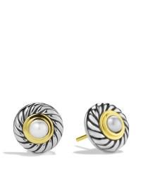 Lyst - David Yurman Cable Pearl Earrings With Gold in Metallic