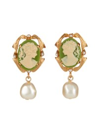 Lyst - Dolce & Gabbana Pearl-Embellished Cameo Clip-On ...