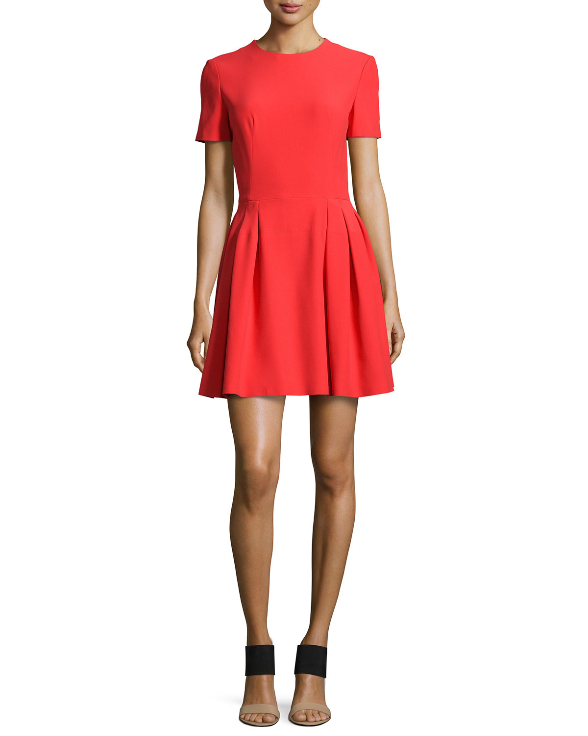 Lyst  Alexander mcqueen Matte Charmeuse Fitandflare Dress in Red