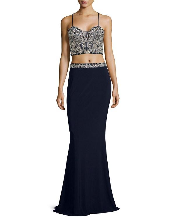 Lyst - Faviana Beaded Corset Crop Top & Skirt Two-piece