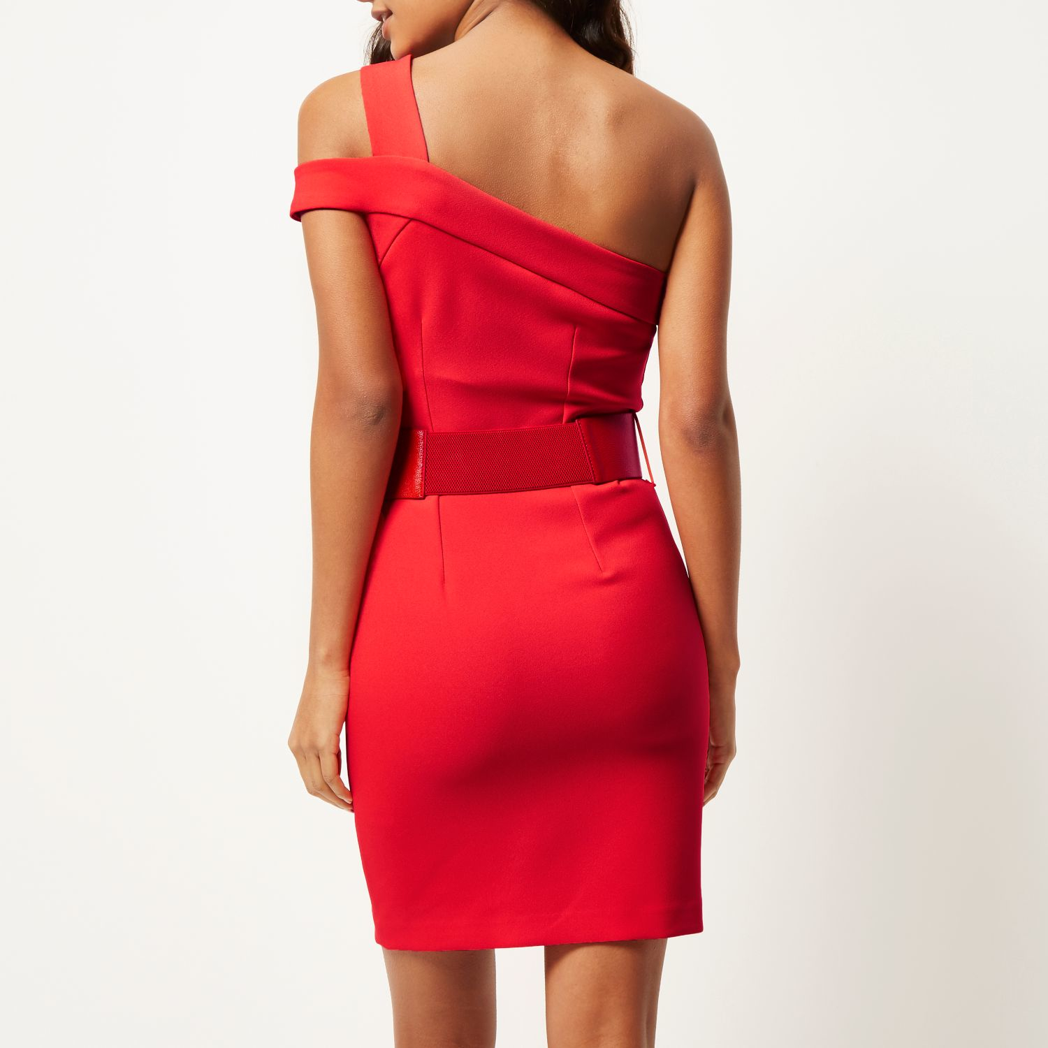 River Island Red One Shoulder Bodycon Dress In Red