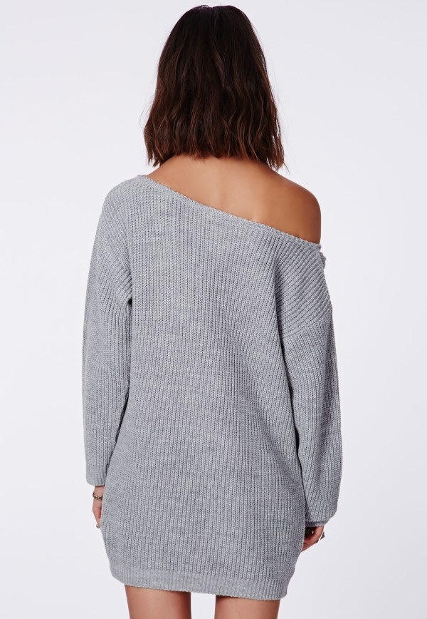 Missguided Shoulder Knitted Jumper Dress Grey In Gray