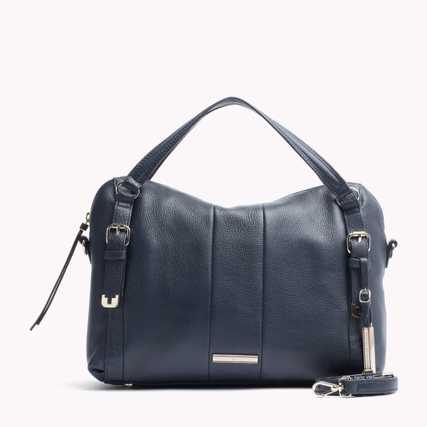Tommy Hilfiger Pebbled Leather Satchel In Blue Midnight