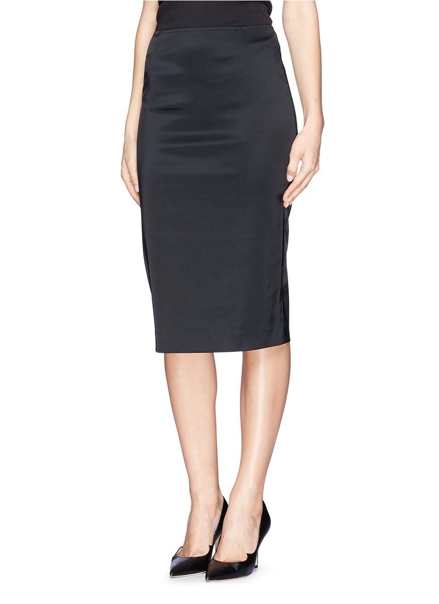 Lyst  St John Structured Satin Pencil Skirt in Black