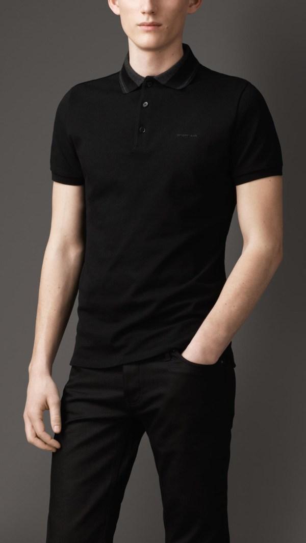 3c24737b Burberry Striped Collar Polo Shirt In Black Men Lyst