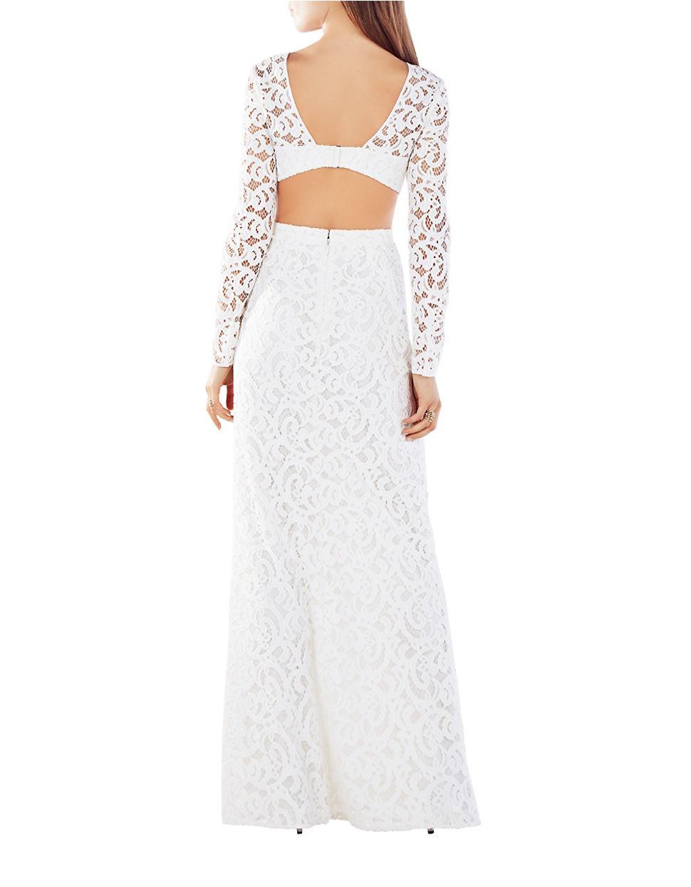 Lyst Bcbgmaxazria Elizabella Cutout Lace Gown In White