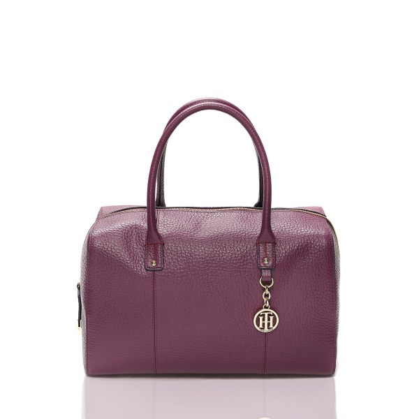 Tommy Hilfiger Large Leather Dome Satchel In Purple