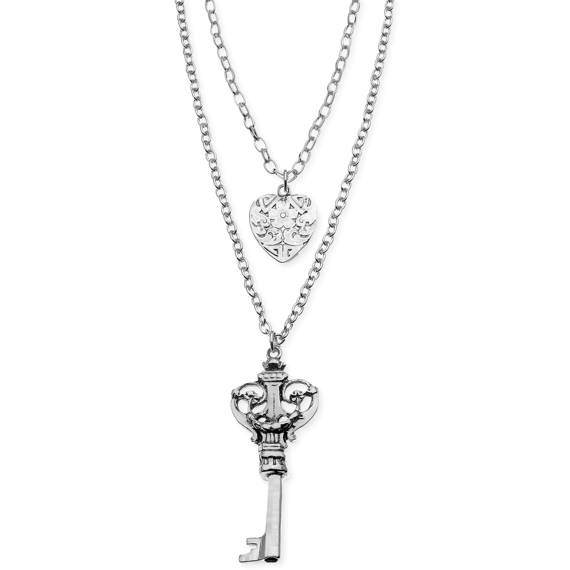 Guess Silvertone Heart and Key Charm 2row Pendant Necklace