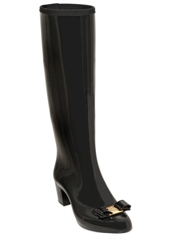 Lyst - Ferragamo 50mm Niper Pvc Bow Rain Boots In Black