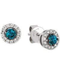 Le vian White And Blue Diamond Stud Earrings (1/2 Ct. T.w ...