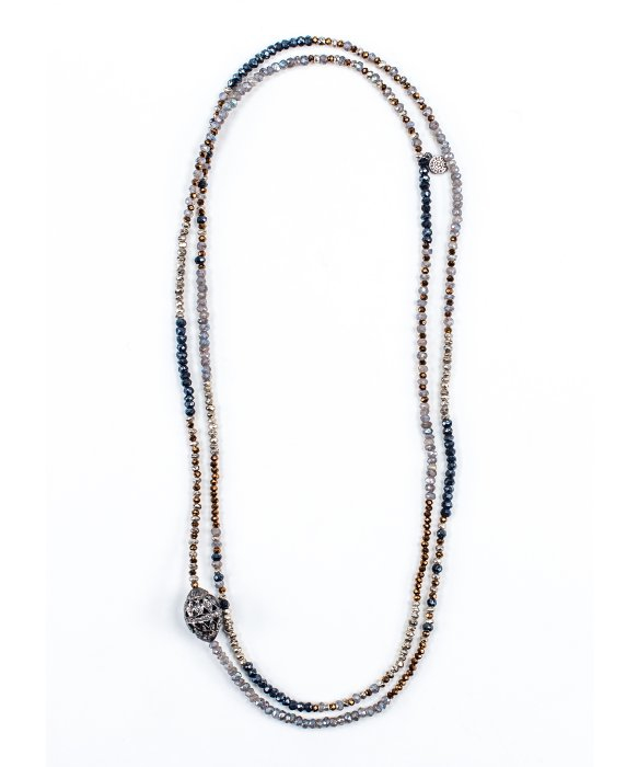 Bettina duncan Diamond Pave Bead On Mix Pyrite Necklace in