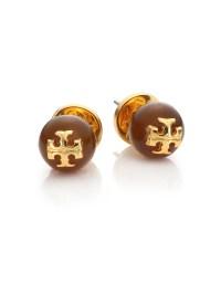 Lyst - Tory Burch Cabochon Logo Stud Earrings in Metallic