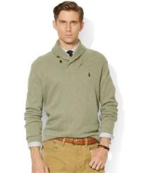 Lyst - Polo Ralph Lauren French-Rib Shawl Sweater in Green ...