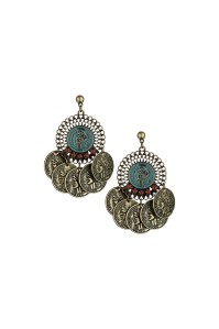 Lyst - Topshop Coin Drop Earrings in Green