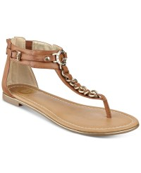 Lyst - G By Guess Daniel T-strap Flat Sandals in Brown