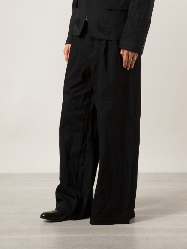 Black Wide Leg Dress Pants Men