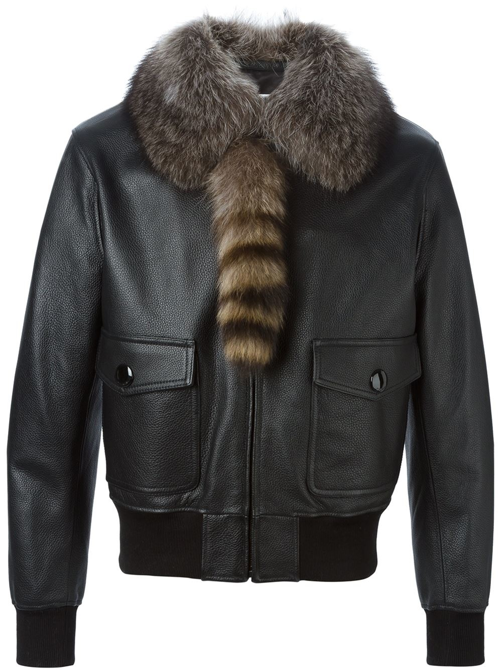 Lyst  Givenchy Raccoon Fur Collar Jacket in Black for Men