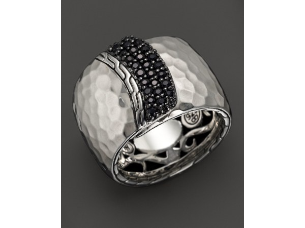 John Hardy Palu Silver Lava Wide Overlap Band Ring With