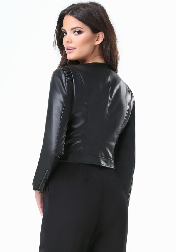 Bebe Julia Faux Leather Jacket In Black - Lyst