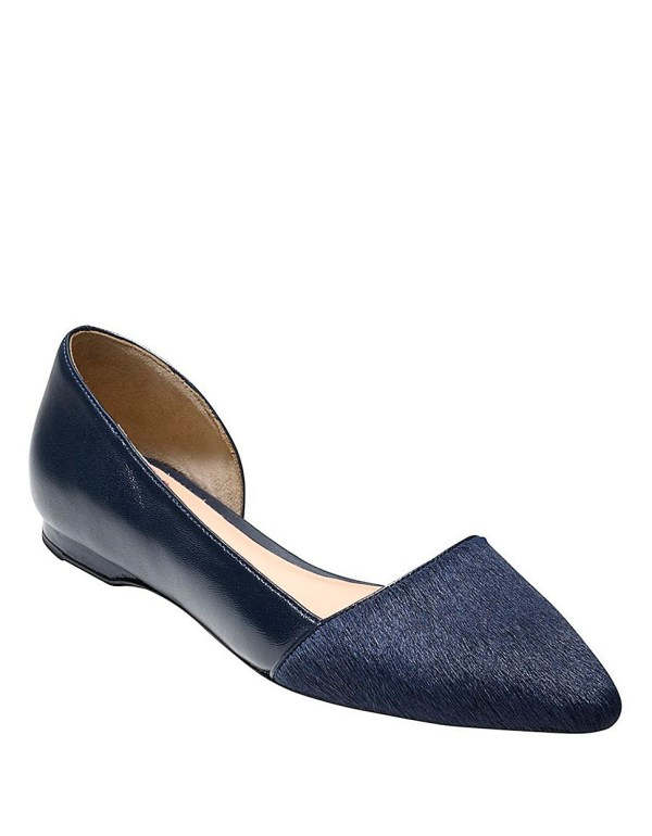 Lyst - Cole Haan Amalia Leather And Haircalf Skimmer Flats