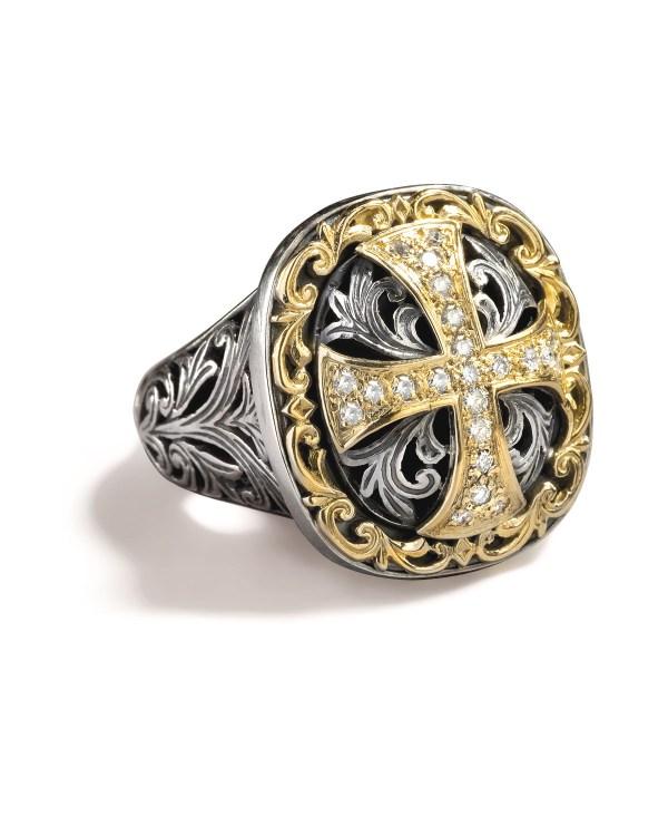 Lyst - Konstantino Diamond Cross Ring In Metallic