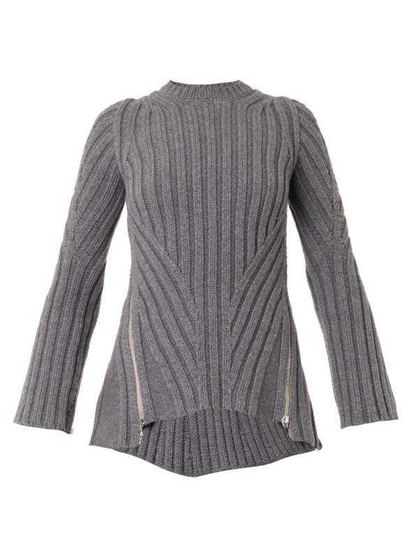 Lyst - Alexander Mcqueen Zip-side Ribbed-knit Sweater In Gray