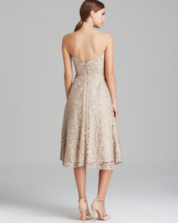 Lyst - Nicole Miller Dress Strapless Lace Tealength In Natural