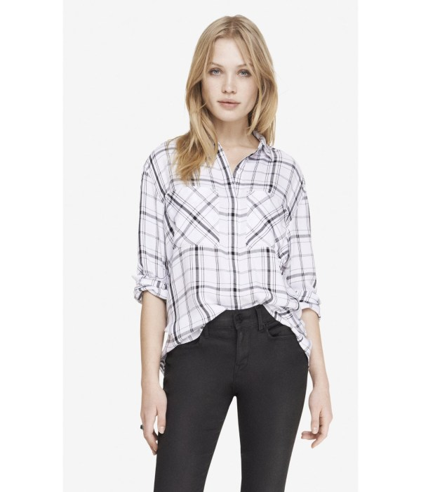 Lyst - Express Oversized Plaid Shirt In Black